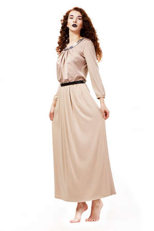 toga: Minimalism. Romantic Shoeless Woman Maiden on Tiptoes. Purity & Tenderness