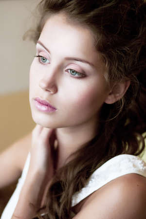Tenderness. Face of Tranquil Refined Young Woman. Natural Makeup Stock Photo - 18462487