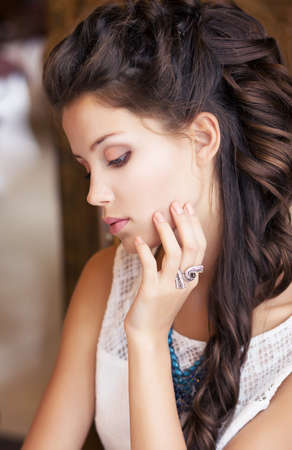 Relax. Portrait of Daydreaming Classy Meek Girl. Refinement Stock Photo - 18462475