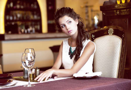 Luxury. Classy Romantic Woman in Restaurant. Expectancy Stock Photo - 18462486