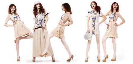 nifty: Collage van Glamorous Pretty Girls Shoppers in Modern Jurken. Lifestyle Stockfoto