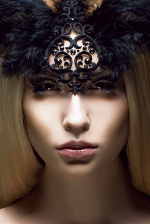 lace up: Romance. Close up Portrait of charming Woman. Victorian Style. Fantasy Stock Photo