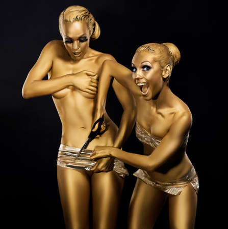 Coloring. Ridiculous, Comical and Humorous Women. Gold Metallic Make Up. Expression Stock Photo - 18462515