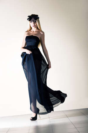 Sensuality. Stylish Dynamic Woman in Black Transparent  Frock. Elagance Stock Photo - 18499275