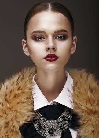 Arrogance  Stately Luxurious Woman in Wool Collar and Necklace Stock Photo - 18714471