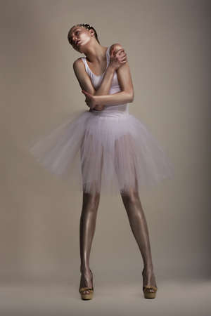 pearly: Seductive Woman in White Transparent Dress Tutu in Dramatic pose  Dreams