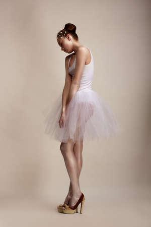 Attitude  Attractive Female standing in White Dress  Upset Stock Photo - 18553181