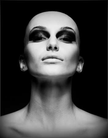 shaved:  Extreme. Portrait of Eccentric Hairless Woman. Shaved Skull. Futurism Stock Photo
