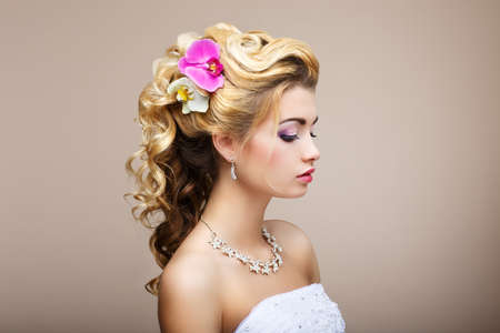 woman face profile: Harmony. Pleasure. Profile of Young Lady with Jewelry - Earrings & Necklace