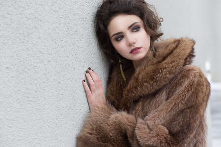 Loneliness. Winter. Beautiful Refined Female in Wool Fur Coat photo