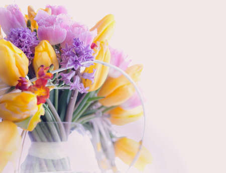 Greeting Card  Bouquet of Colorful Mixed Flowers - Tulips in a Vase  Floristics photo