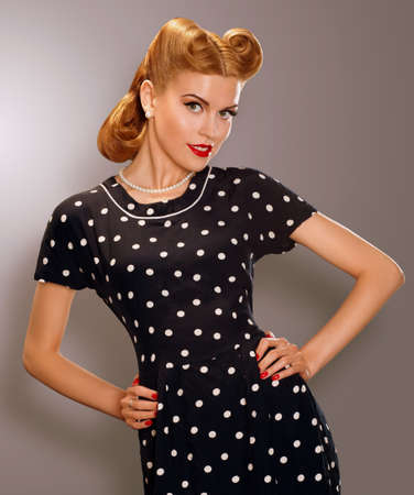 pearly: Romance  Styled Woman in Blue Retro Polka Dot Dress  Pin Up Style
