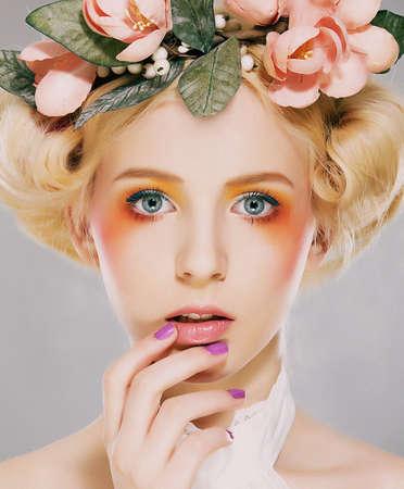 artistry: Elegance  Genuine Natural Blonde Bride with Pink Flowers  Artistry