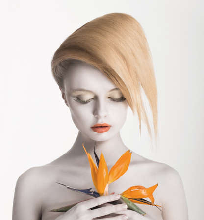 Bodyart  Fancy Daydreaming Woman with Exotic Flower  Allure Stock Photo - 19025445