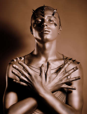 Coloring  Bodyart  Bronze Painted Man photo