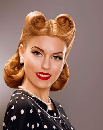 Nostalgia  Styled Smiling Woman with Retro Golden Hair Style  Nobility photo