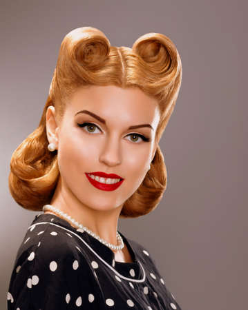 pin up: Nostalgia  Styled Smiling Woman with Retro Golden Hair Style  Nobility