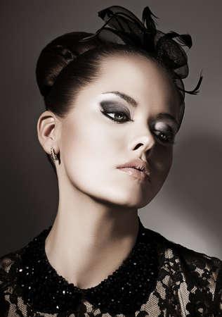 gentleness: Gentleness. Portrait of Luxurious Exquisite Lady in Black daydreaming. Elegance Stock Photo