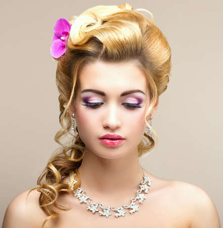 Beauty Lady  Dreaming Woman with Jewelry - Platinum Necklace and Earrings  Tenderness photo