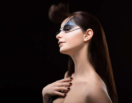 Performance  Eccentric Brunette with Blue Shine Mask on her Face  Art Stock Photo - 19063889