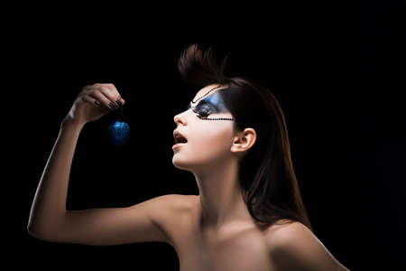 Fantasy  Image of Fancy Woman holding a Blue Ball in hand  Inspiration Stock Photo - 19063890