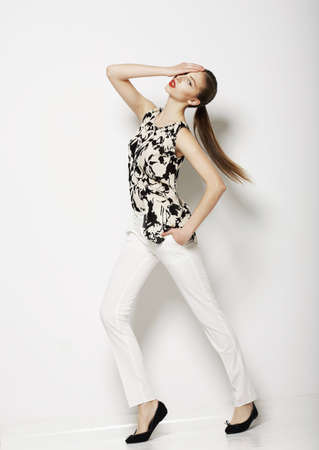 Vogue  Modern Female wearing Trendy Pants  Fashion Collection Stock Photo - 19063888