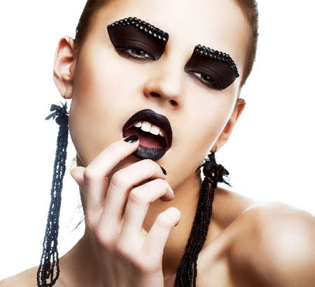 Individuality. Expression. Face of Extraordinary Ultramodern Hippie with Extreme Make-up. Subculture Stock Photo - 19225019