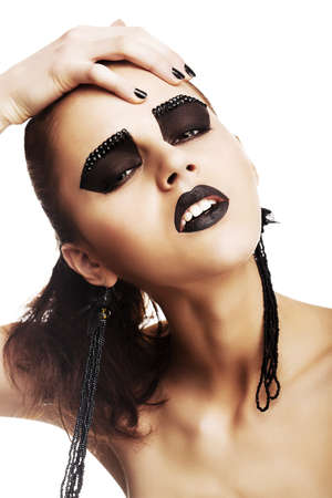 Expressive Emotions. Funky Woman Hipster with Crazy Black Makeup. Creativity photo