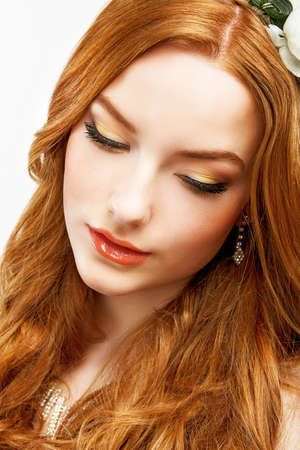 aspirational: Wellness. Face of Serene Golden Hair Girl with Smooth Clean Healthy Skin. Natural Makeup