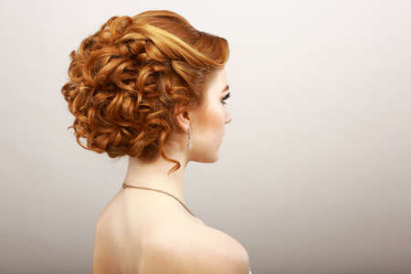 flaxen: Styling. Rear View of Frizzy Red Hair Woman. Haircare Spa Salon Concept
