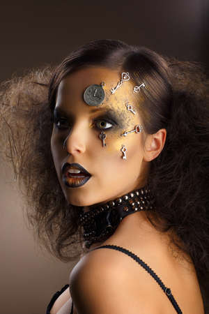 painted face mask: Futurism  Bodyart  Golden Painted Woman