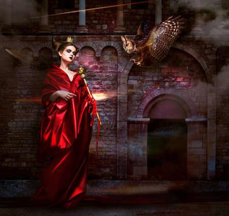 toga: Misticismo Sorcerer Brujería en el manto rojo con Vulture - Hawk Antiguo Castillo de miedo