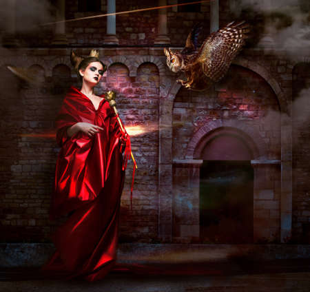 magus: Mysticism   Witchcraft  Sorcerer in Red Mantle with Vulture - Hawk  Ancient Scary Castle Stock Photo