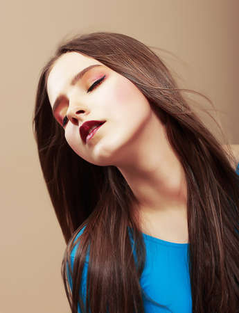 Dreaminess  Portrait of Sensual Dreaming Brunette with Straight Brown Hair Stock Photo - 19385565
