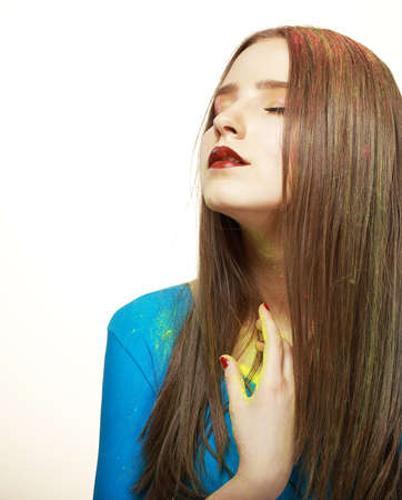 Imagination  Young Fashion Model with Bright Colorful Makeup  Glamor Stock Photo - 19385552