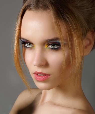 egoist: Sentiment. Profile of Independent Stylish Woman with Shiny Eye Makeup Stock Photo