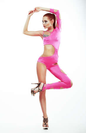Performance. Stylish Fashion Model in Pink Club Clothes Dancing. Entertainment Stock Photo - 19501976