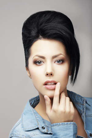 attractiveness: Updo Hair. Authentic Classy Brunette with Trendy Haircut. Attractiveness Stock Photo