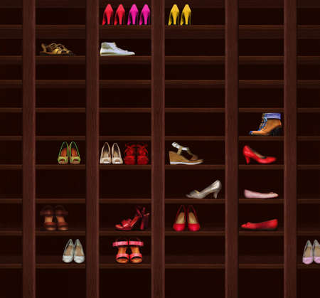 checkroom: Wardrobe. Brown Wood Shelves with Womens Shoes. Fashion