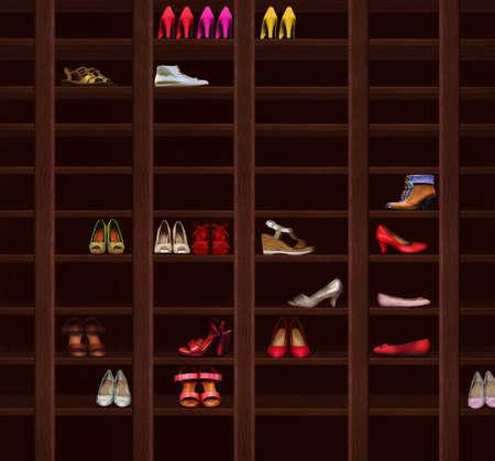 shoe shelf: Wardrobe. Brown Wood Shelves with Womens Shoes. Fashion