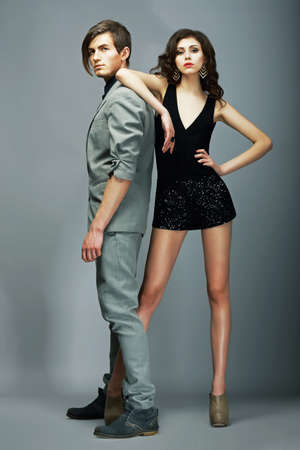 Lifestyle. Well-dressed Couple Fashion Models. Stylishness