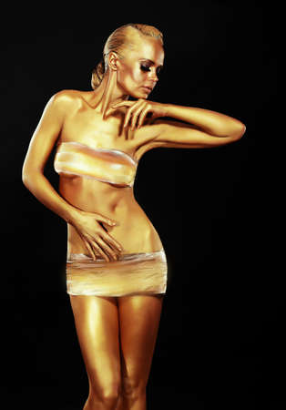 caritas pintadas: Glitter mujer de oro sobre fondo Negro Diseño Creativo Contemporáneo