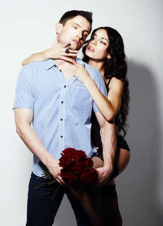 seductive couple: Affection. Bonding. Seductive Couple - Man and Woman Embracing Stock Photo