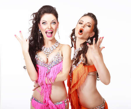 bellydance: Belly Dance  Two Women in Oriental Stage Costumes Singing