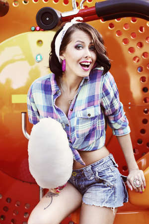 peppy: Lifestyle  Amusing Funny Girl with Cotton Candy Smiling
