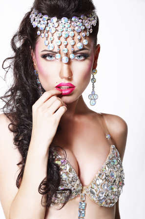 showy: Refined Showy Woman with Bright Diadem and Shining Bra