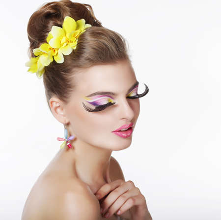 stagy: Creativity. Portrait of Fancy Woman with Long False Eye Lashes Stock Photo