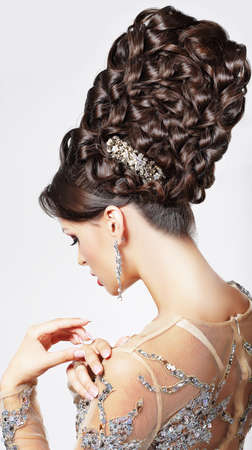 plait: Luxury  Fashion Model with Trendy Updo - Braided Tress  Vogue Style