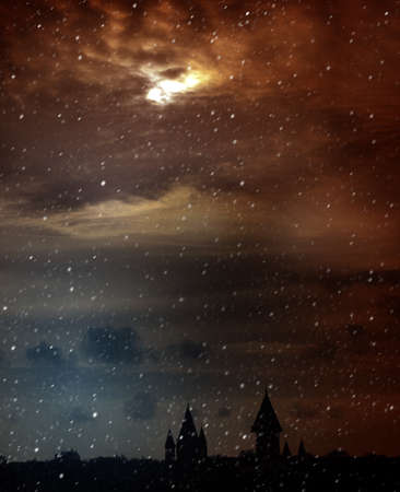 drab:  Twilight  Mysterious Scenic Landscape with Spooky Cloudy Moon Stock Photo