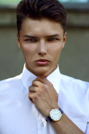 Individuality. Ambitious Successful Handsome Caucasian Man with Watch photo